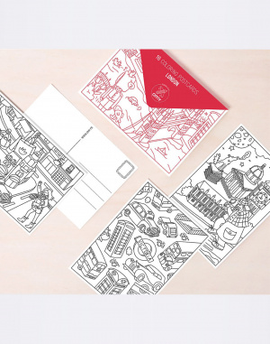 OMY - 16 COLORING POSTCARDS - LONDON