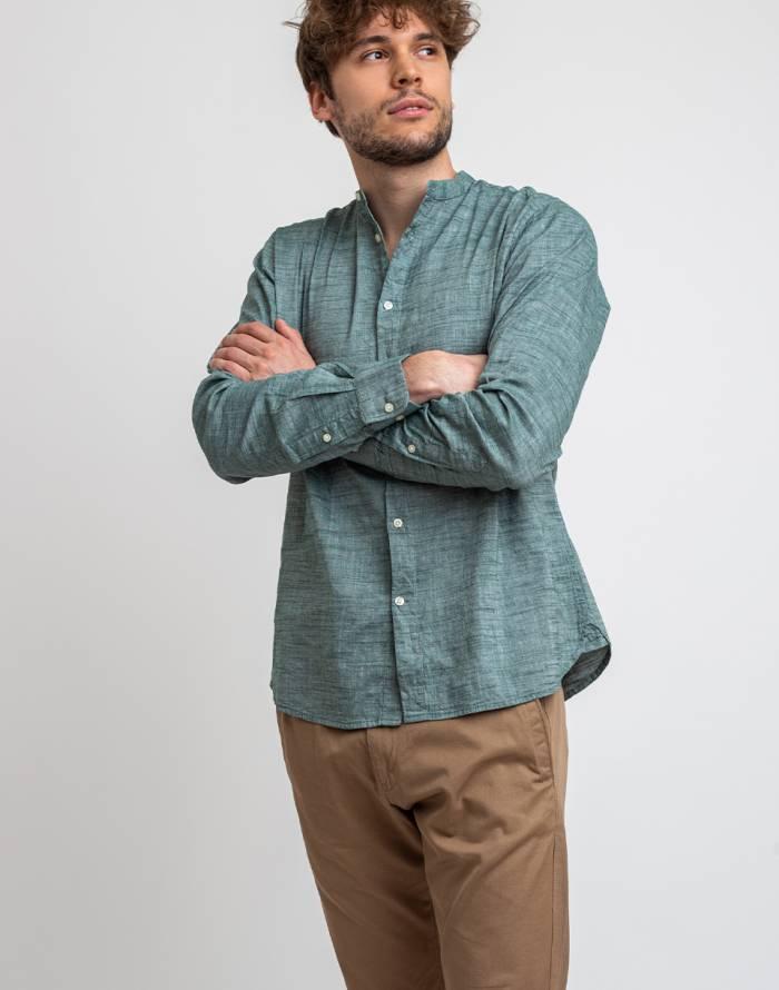 Plain Knowledge Cotton Larch Long Sleeve Linen Stand Collar Shirt